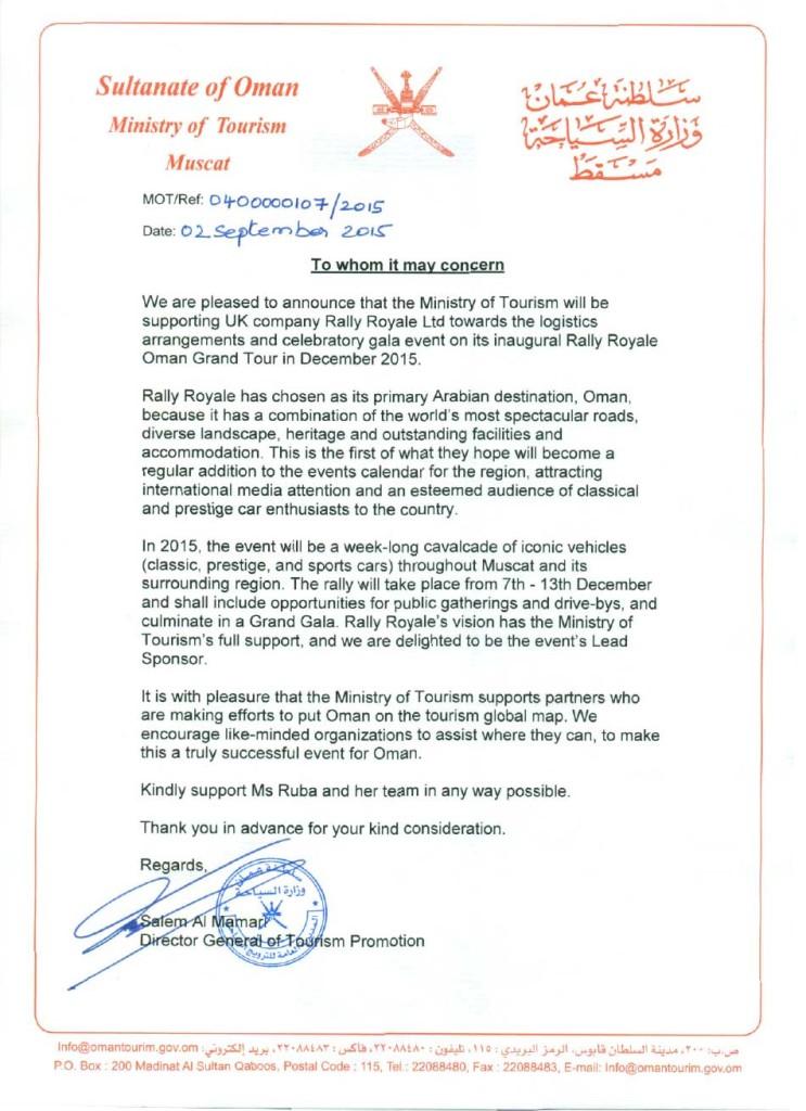 Ministry of Tourism endorses Rally Royale Oman Grand Tour