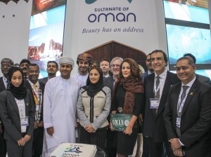 Group shot of exhibitors at the World Travel Market in London.