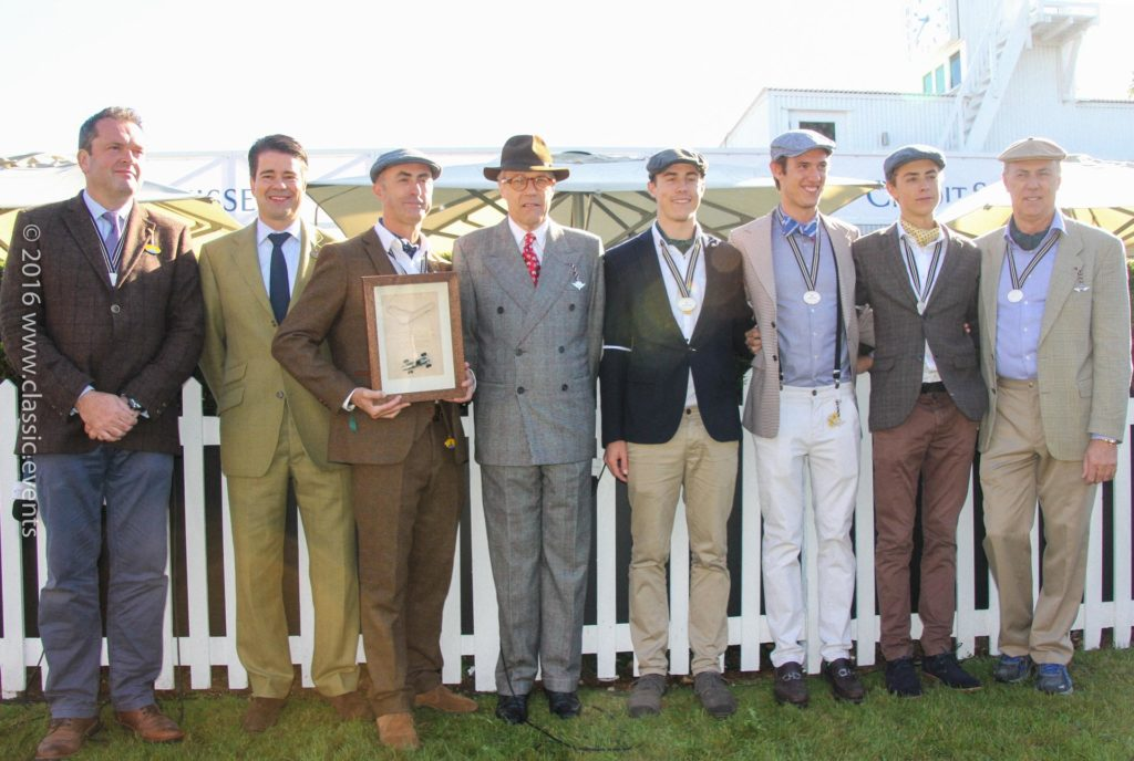Left to right: Henry Hope-Frost, Karsten Le Blanc, David Brabham, Lord Marsh, Brabham family members at the Goodwood Revival 2016 / Credit Suisse Jack Brabham tribute