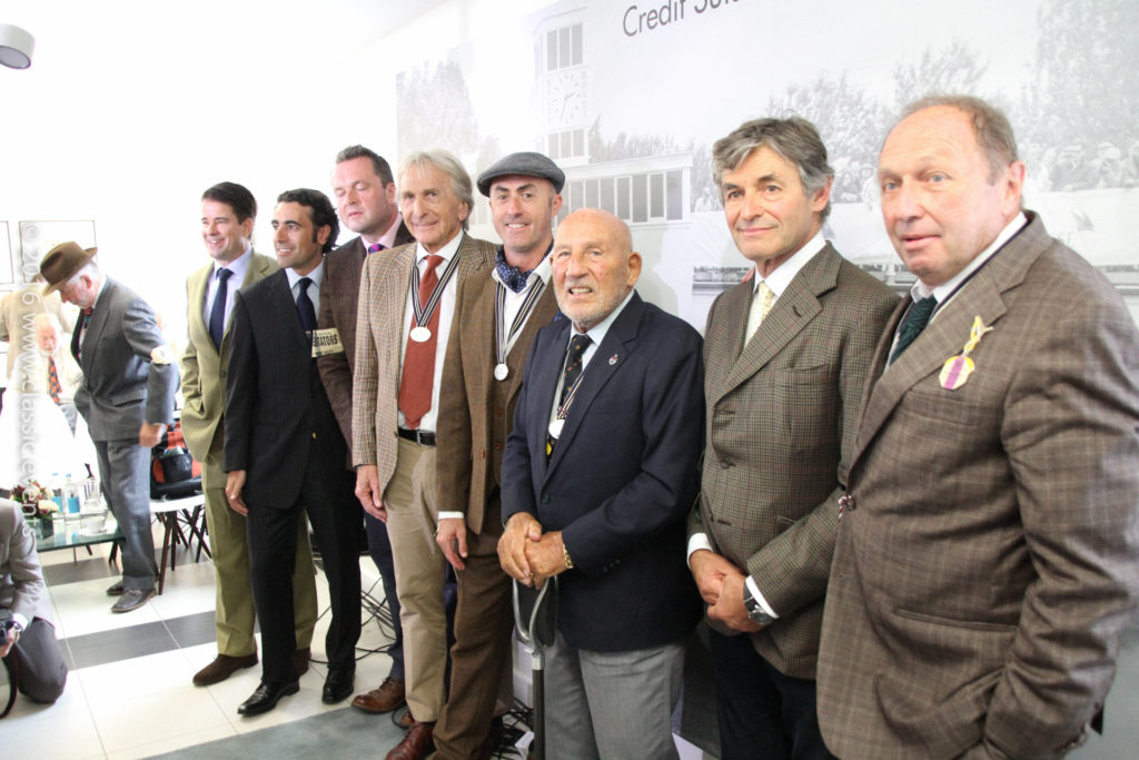 Left to right: Henry Hope-Frost, Karsten Le Blanc, Dario Franchitti, Derek Bell, David Brabham, Sir Stirling Moss, Alain de Cadenet, Jochen Mass at the Goodwood Revival 2016 / Credit Suisse Press Conference
